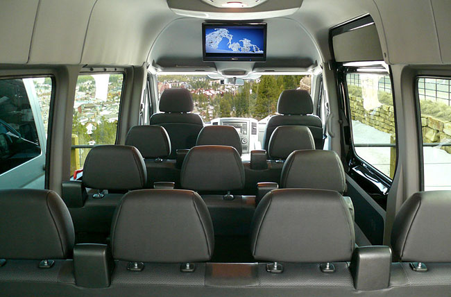 Plan B Transportation Sprinter with seating for 11 passengers.