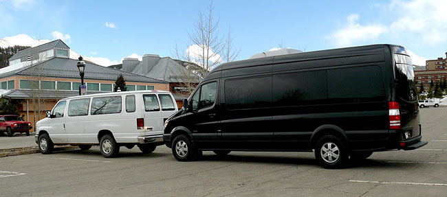 Plan B Mountain Transportation - Comparing a normal shuttle van to a Plan B Sprinter.