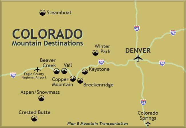 Denver Airport shuttles to Colorado ski resorts. Breckenridge, Beaver Creek, Vail, Copper Mountain, Keystone, Aspen